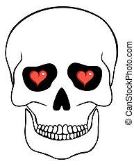 cœurs, résumé, blanc, isolé, crâne