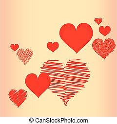 cœurs, résumé,  valentine&#39,  s, fond, jour