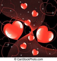 cœurs, résumé, vecteur, brillant, fond
