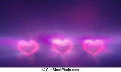 cœurs, rayon, lumière, trois