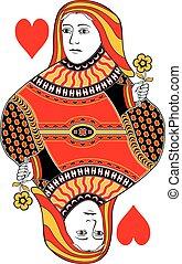 cœurs, reine, carte, non