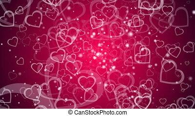 cœurs, render, beaucoup, résumé, valentin, engendré, informatique, fond, jour, toile de fond, 3d