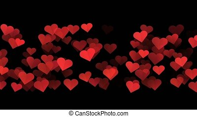 cœurs, rouge noir, fond