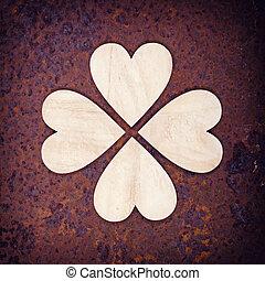 cœurs, rouillé, bois, fond