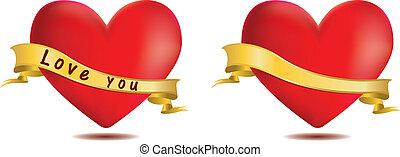 cœurs, ruban rouge
