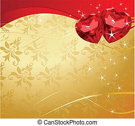 cœurs, rubis, valentin