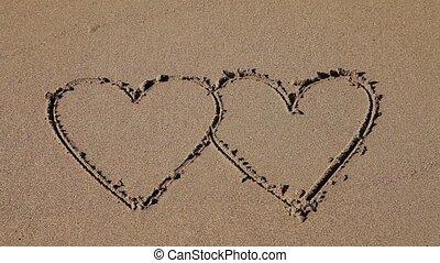 cœurs, sable, dessiné, double