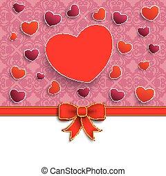 cœurs, saint-valentin, ruban, rouges