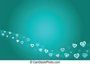 cœurs, sarcelle, fond