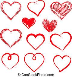 cœurs, set., vecteur, drawn., main