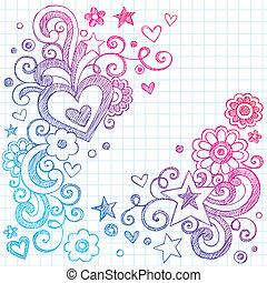 cœurs, sketchy, vecteur, amour, doodles