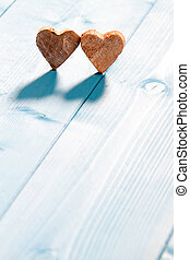 cœurs, sur, bois, fond