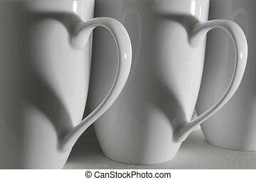 cœurs, tasse à café