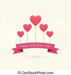 cœurs, valentine, heureux, fond, voler, jour