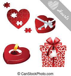 cœurs, valentine, icônes