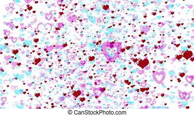 cœurs, valentines, amour, jour, fond