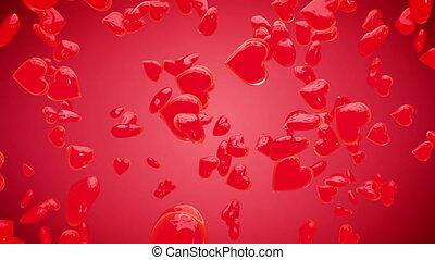 cœurs, valentines, arrière-plan rouge