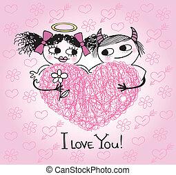 cœurs, valentines, cou, carte