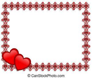 cœurs, valentines, frontière, jour