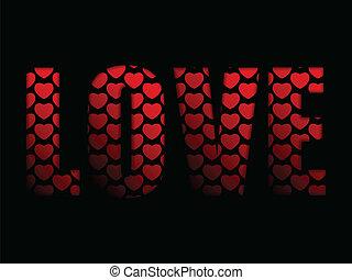 cœurs, valentines, mot, jour, amour