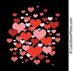 cœurs, vecteur, amour, illustration