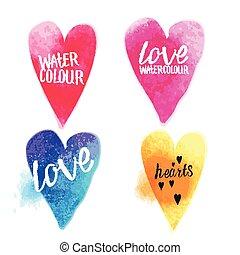 cœurs, vecteur, aquarelle