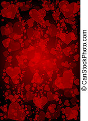cœurs, vecteur, arrière-plan rouge