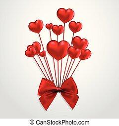 cœurs, vecteur, ballons, ruban, rouges