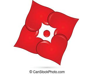 cœurs, vecteur, collaboration, logo