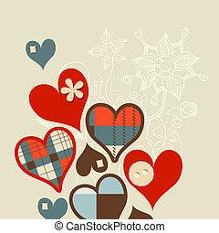 cœurs, vecteur, fond