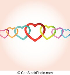 cœurs, vecteur, fond, connected.