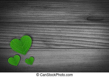 cœurs, vert, formé, pédale