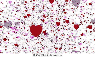 cœurs, voler, amour, fond