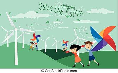 c, énergie, -, terre verte, sauver