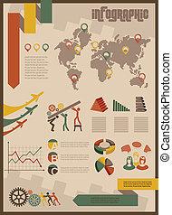 c, ビジネス, セット, infographics, 型
