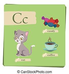c, 子供, カラフルである, アルファベット, -, 手紙