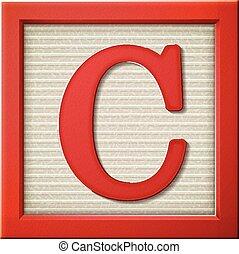 c, 3d, brief, blok, rood