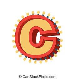 c, abc, alphabet., font., vendange, lampe, étincelant, lumières, incandescent, retro, lettre, ampoule