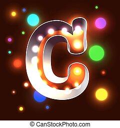 c, abc, barra, figura, cine, club, signboard, -, vegas, lámparas, retro, carta, capital, o