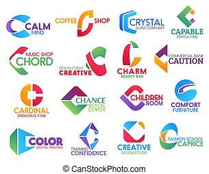 c, affari, identità, icone, lettera, corporativo