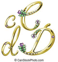 c, alfabeto, cartas, joyas, oro