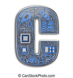 c., alfabeto, isolato, ciao-tecnologia, asse, circuito, digitale, lettera, style., white.