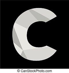 C alphabet letter isolated on black