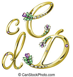 c, alphabet, lettres, bijouterie, or