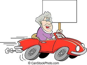 c, antigas, dirigindo, esportes, senhora, caricatura