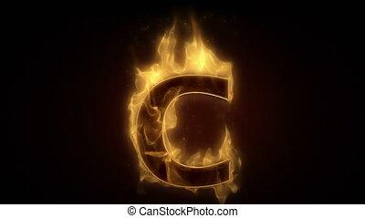 c, ardent, brûlé, esprit, lettre, boucle