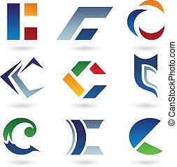 c, astratto, lettera, icone