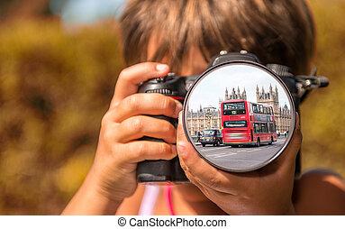 c, autobus, presa, giovane, foto, londra, digitale, professionale, ragazza