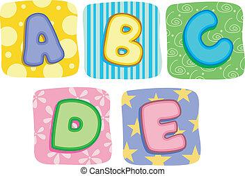 *c*, *b*, מכתבים, *d*, שמיכת נוצות, אלפבית, *e*