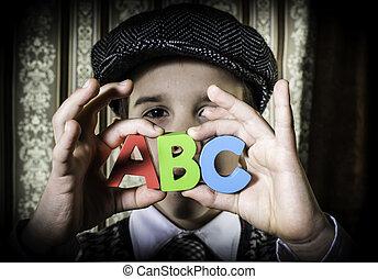 c, b, briefe, weinlese, kind, halten, kleidung